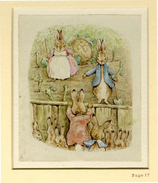 Beatrix Potter Illustration from The Tale of the Flopsy Bunnies (1909) | Image supplied by the British Museum.  Copyright (c) Frederick Warne & Co., 1909, 2002